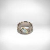 Žiedas Nr. 254 - baltas auksas 585, geltonas auksas 750, akvamarinas