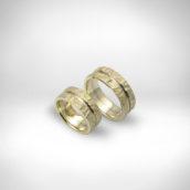 Vestuviniai žiedai Nr. 258 - geltonas auksas 585, baltas auksas 585