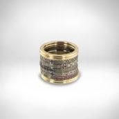 Žiedų rinkinys Nr. 269 - geltonas auksas 750, paladis 500, mėlyni safyrai, rožiniai safyrai