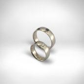 Vestuviniai žiedai Nr. 244 - baltas auksas 585, skaidrus baltas ir juodas briliantai