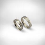 Vestuviniai žiedai Nr. 246 - baltas auksas 585, briliantai